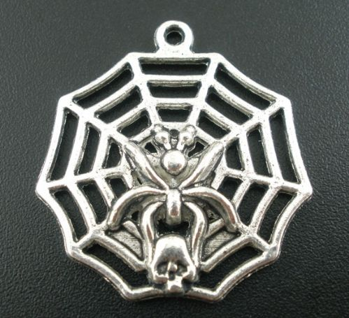 4 Antique Silver Gothic Cobweb Charms Pendants 30x32mm